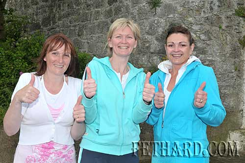 In training for the Fethard Ladies Football 'Parachute Jump' are L to R: Maureen McCarthy, Alice Butler and Caroline Sheehan