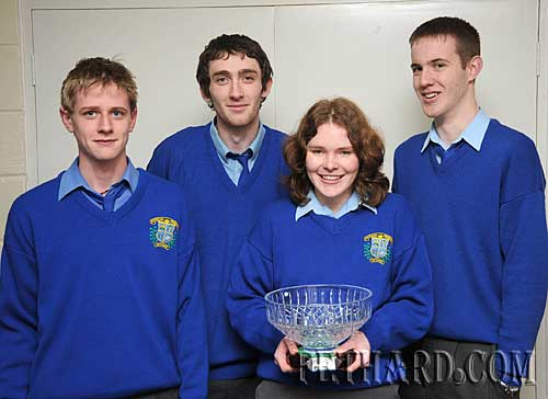 Patrician Presentation Public Speaking team who won the area final of the Mental Health Ireland Public Speaking Competition on Thursday 22nd January. They now qualify to go through to the regional final on 11th February and we wish them every success. L to R: Jerome Ahearne, James Cotter, Siobhán O'Brien and Cian Grogan