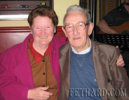 Eileen O'Donnell, Killusty, photographed in Fethard with 'Roundy' Lawlor from Ballingarry. 'Roundy' was one of the best bodhrán players in the country in his former band years and still sings the odd tune.