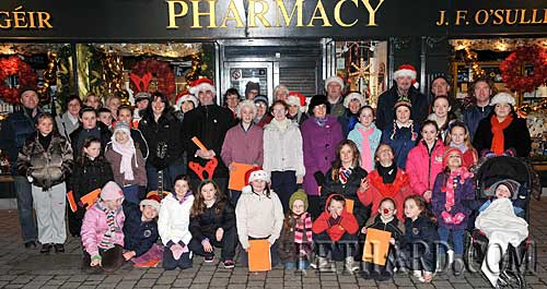 Some of the large group of children and adults that turned out for the Annual Christmas Carols on the streets of Fethard in aid of the CRC 'Santa Bear Appeal' on Thursday 17th December.
