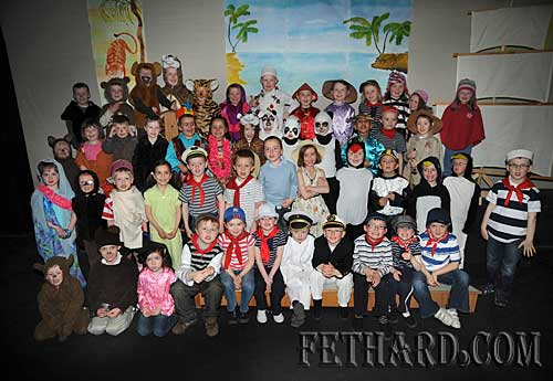 Full group of Nano Nagle Primary School Junior and Senior Infant classes photographed after their production of 'Toby's Ark' in the Abymill Theatre, Fethard.