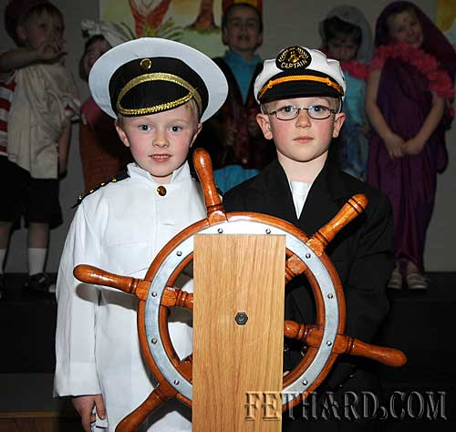 L to R: Toby Collier and  Micheál Quinlan photographed in their school production of 'Toby's Ark'