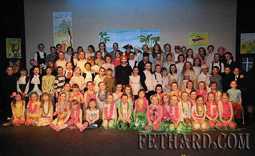 Full group of Nano Nagle Primary School senior classes photographed after their production of 'Paradise Island' in the Abymill Theatre, Fethard.