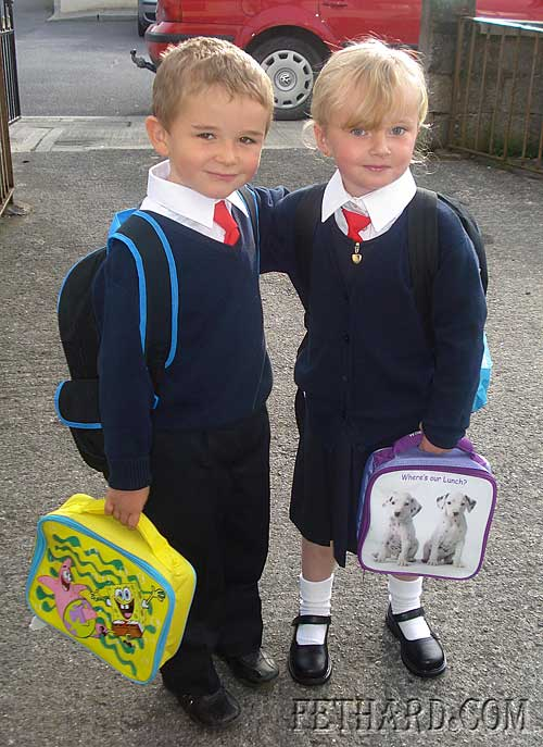 Cousins Alex Freeman and Tegan Roche heading off for their first day in school to Nano Nagle National School in Fethard.