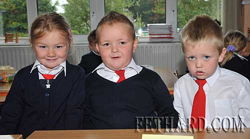 Starting school at Nano Nagle National School were L to R: Ashlee Needham, Alex Ryan and Brian O'Meara.