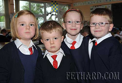 Two sets of twins starting school at Nano Nagle National School were L to R: Gráinne Murray, Thomas Murray, Ciara Spillane and Daragh Spillane.