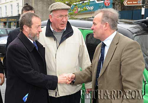 Sean Kelly greated by Cllr John Fahey (right) on his arrival to Fethard. Also included is Paddy Broderick (centre).
