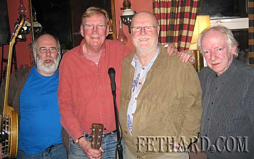 Jim Rooney photographed with long time friend Mick Hanley, who made a guest appearance with at the band at their concert in McCarthy's. L to R: Mick Daly, Jim Rooney, Mick Hanley and Arty McGlynn.