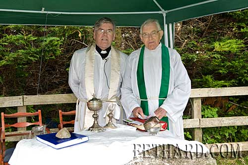 Rev. Canon Tom Breen, P.P. Fethard & Killusty  and Fr. Peter Haughey, Prior Augustinian Abbey Fethard, who concelebrated Mass at the Mountain Wall, Slievenamon.