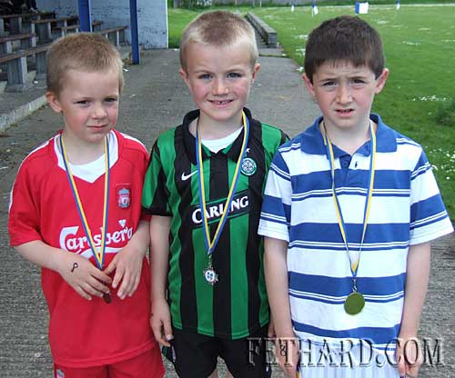 Boys U8  60m winners at Fethard Area Sports L to R: Shane Neville (bronze), Ryan Walsh (silver) and Ben Coen (gold).