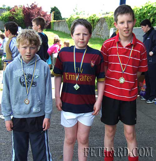 Winners in the Boys U12 100m at Fethard Area Sports L to R: Liam Quigley (bronze), Jack Dolan (silver) and Paul Moloney (gold).