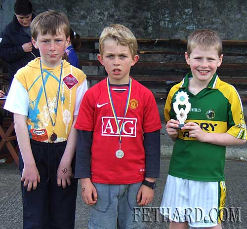 Winners in the Boys U10 100m at Fethard Area Sports L to R: Jack Spillane (bronze), Joseph O'Connor (silver), and Darragh Lynch (gold).