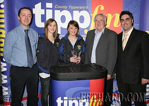 Photographed at the recent Tipp FM Sports Awards 2009 presentation to Fethard Patrician Presentation Secondary School, All Ireland Volleyball Champions 2009. L to R:  Justin McGree (Teacher/Coach), students Aisling O' Dwyer and Jean Anglim, Waltie Moloney Tipp FM Sport and Ian O'Connor Tipp FM.