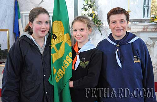 Fethard Guides photographed at the St. Patrick's Mass in Holy Trinity Church Fethard. L to R: Molly O'Dwyer, Amy Tynan and Theresa Hurley (leader).