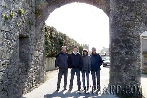 Stefan Müller photographed with his family at the North Gate while visiting Fethard at Easter. L to R: his father Bernd Müller, Stefan, his sister Simone and mother Rosi.