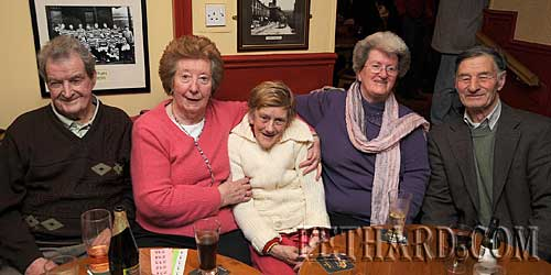 Photographed at Fethard & District Day Care Centre Table Quiz at Butler's Bar are L to R: Jimmy Roche, Mary Danaher, Johanna Corbett, Mary Fitzgerald and Des Martin.