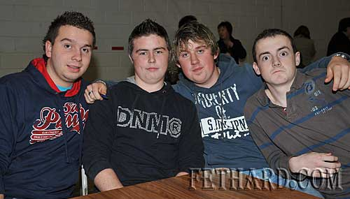Taking part in the Fethard Patrician Presentation Parents Association Table Quiz were L to R: Matthew Fitzgerald, Jonathan Fleming, Kevin Hayes and Adam O'Donnell.