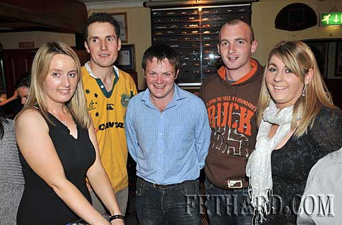 Members of Fethard Macra photographed helping at their Table Quiz held in Butlers Bar in aid of MS Ireland. L to R: Una Shanahan, Noel Clancy, Mike Moclair, Thomas O'Dea and Ann Marie Kennedy.