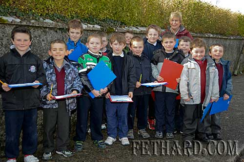 Pupils from St. Patrick's Boys National School Fethard photographed with Principal, Ms Patricia Treacy, while recently undertaken a 'Traffic Survey' on the Rocklow Road in Fethard