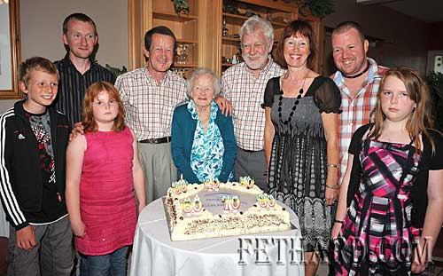 Celebrating birthdays at the Kenny family's 'Zero Party' were L to R: Martin Jenson (10), Kelda McManus (10), John Kenny (30), Michael Kenny (60), Mary Newport (80), Joe Kenny (70), Catherine Kearney (50), Gary McManus (40) and Chelsey Kenny (10).