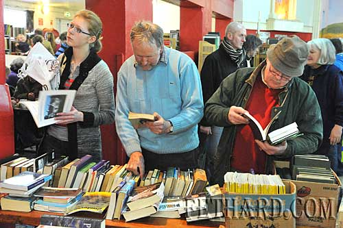 Book lovers browsing at the book fair