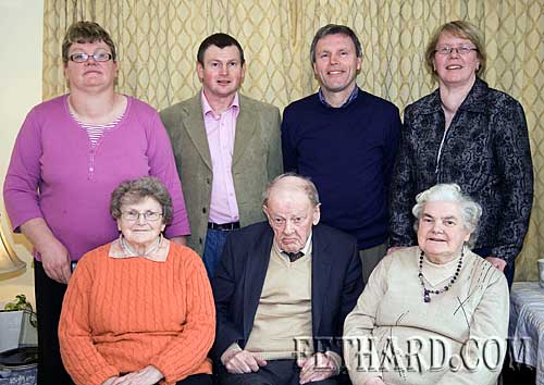 Paddy Cormack photographed with family and relatives on the occasion of his 90th Birthday. Back L to R:  Jocie Fitzgerald, Liam Harrington, John Keane, Kathleen Maher (nieces and nephews). Front L to R: Mary Harrington (sister), Paddy Cormack and Margaret Keane (sister).
