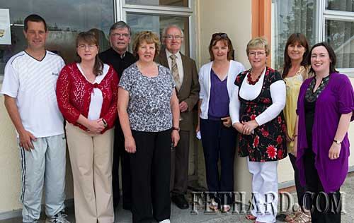 Staff of St. Patrick's Boys School on the last day L to R: Willie Ryan (caretaker), Sarah Carey, Canon Tom Breen P.P., Ann Darcy (secretary), Tony Newport (past-pupil), Eileen Fitzgerald, Patricia Treacy (principal), Aisling Ryan and Carmel Lonergan.