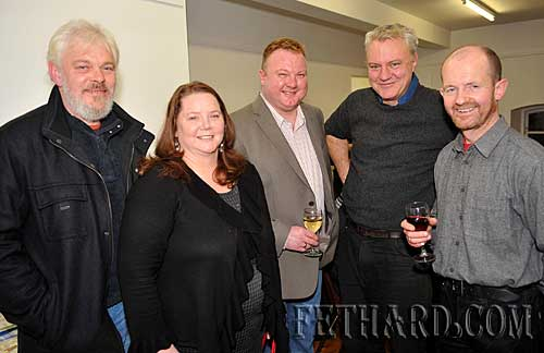 Photographed at the presentation of Fethard Historical Society's 'Tipperariana Book of the Year' award to Liam Ó Donnchú for his book 'Pouldine School - Inné agus Inniu' at the Abymill Theatre are L to R: Liam Noonan, Maura Barrett, Simon Thomson, Tim Robinson and Colm McGrath.