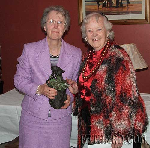 Bernie Myles (left) winner of the William O'Flynn Memorial Trophy for 'Player of the Year' at Fethard Bridge Club photographed receiving her prize from Kathleen Kenny (President).