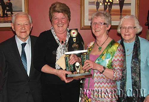 Anne Connolly and Eileen Frewen winners of the 'Lucey Trophy' at Fethard Bridge Club's President's Dinner held on Friday 14th May. L to R: John Lucey, Anne Connolly, Eileen Frewen and Ann Lucey.