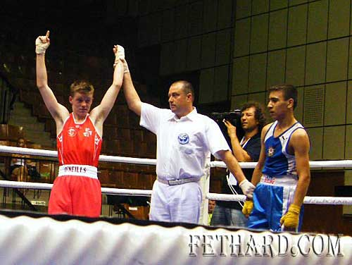 Jack Connolly winning his bout in Bulgaria