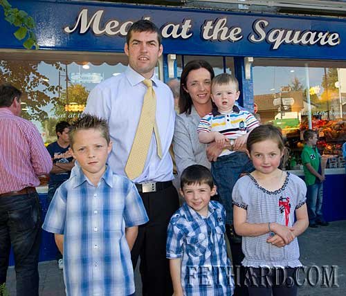 Jimmy O'Brien photographed with his wife and family at the official opening of his new butcher shop 'Meat at the Square' in Fethard. Back L to R: Jimmy, Una, Tiernan. Front L to R: Pauric, Micheal and Erin.