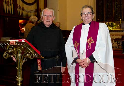 Photographed at the Carol Service held at Holy Trinity Church of Ireland in Fethard are L to R: Fr. John Meagher OSA and Rev Barbara Fryday.