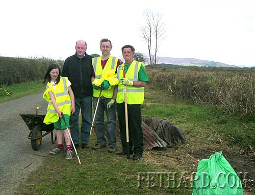 Kathleen McCarthy, Pat McCarthy, Barry O'Reilly and Paul Keyes photographed at the clean-up of the roads at Mobarnane, Ballyvaden and Curraghscarteen, near Moyglass.