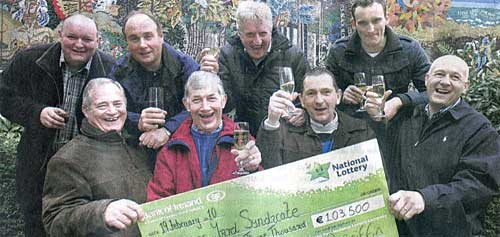 The Anglim's Yard Syndicate from Coolmore Stud were in great spirits when they collected their Lotto Plus 1 win worth €103,500 from the National Lottery offices in Dublin. Back L to R: Joe Martin, Tom Cummins, Michael Kennedy, Declan Fanning. Front L to R: David O'Meara, Eddie Croke, Liam Boland and Ian Gough.