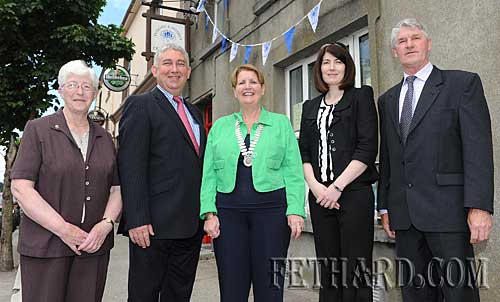 Photographed at the official opening of the Fethard Branch of Clonmel Credit Union on Friday 4th June are L to R: Kathleen Halpin (Director), Paul Davey (Manager Fethard Branch), Alice Twomey (President), Tracy Hogan (Financial Controller) and Michael Hickey (Director).