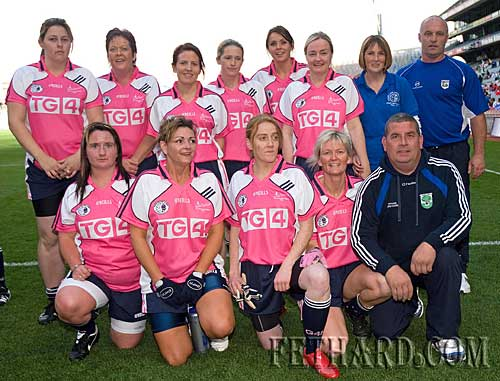 Sunday 26th September will long be remembered by the Gaelic4Mothers team, mentors, family and friends who travelled to Croke Park to represent Fethard in an exhibition match during the Ladies All-Ireland Final. Pictured on the field are Back L to R: Noelle Ahearne, Kay Cummins, Aine Doocey, Carina Condon, Linda Delaney, Cathriona Davy, Maureen McCarthy, Tom Anglim. Front L to R: Tracey Lawrence, Caroline Sheehan, Eleanor Roche, Alice Butler and Tom McCarthy.