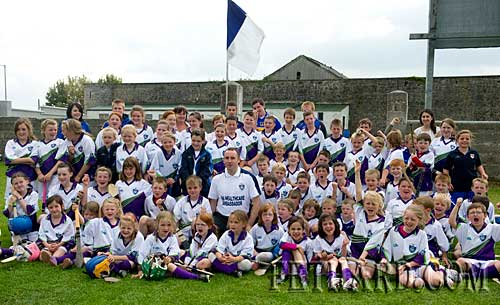 Tipperary's Eoin Kelly surrounded by enthusiastic supporters when he visited Fethard GAA Cúl Camp last weekend