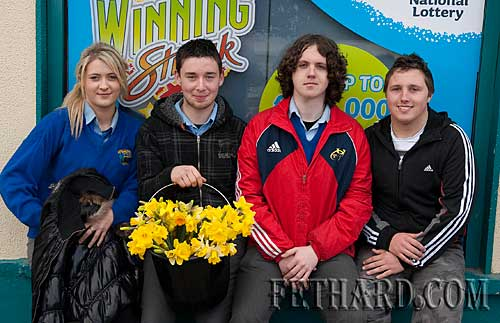 Students from Patrician Presentation Secondary School who helped with Daffodil Day in Fethard L to R: Jane Fitzgerald, Andrew Maher, Tony Myler and Garreth Lawrence.