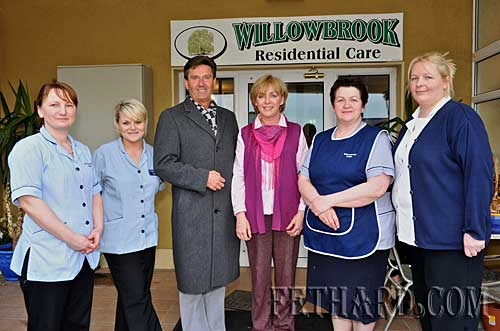 Irish singer Daniel O'Donnell photographed with staff members of Willowbrook Lodge Nursing Home L to R: Andrea Matisz, Sarah Flynn, Daniel O'Donnell, Noelle Killeen (Manager), Catherine O'Connell and Helen Murnane.