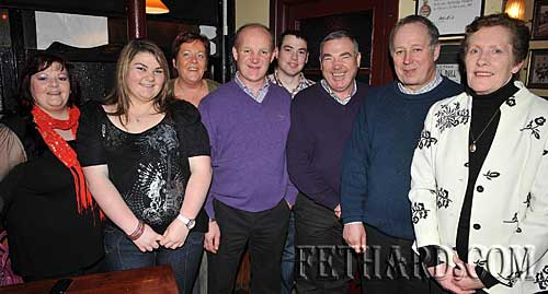 Photographed at the recording of 'Down Your Way' at Lonergan's Bar in Fethard last weekend are L to R: Mary Cummins, Selena Cummins, Kay Cummins, Richard Cummins, Noel Cummins, Tom Cummins, Miceál Breen and Eileen Breen. Richard was also celebrating 28 years service as a member of the Red Cross and Eileen was celebrating her retirement as branch treasurer after 21 years service.