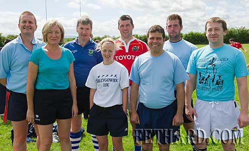 'Oompa-Loompa' tag rugby team who took part in the Fethard Macra Field Day at Fethard Community Field on Sunday last. L to R: Ian Cooke, Susan Cooke, Pat O'Donnell, Áine Roche, Jimmy O'Brien, Tony Fitzgerald, John Hannigan and Martin Murphy.