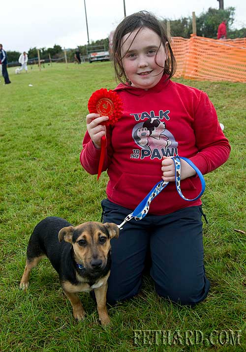 Sarah Slattery and her dog 'Scarlet' who won first prize at the Dog Show at Fethard Community Family Field Day