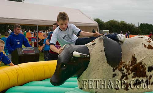 Jason Ryan photographed on the 'Rodeo' at Fethard Community Family Field Day.