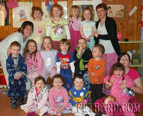 Children enjoying their 'Pajama Day' at First Steps Playgroup in the Tirry Community Centre. The staff would like to thank all the parents and children for their support.
