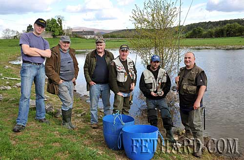 Members of Fethard & Killusty Anglers fishing in pond at Redcity to free trapped fish and release them into the Clashawley River before flood waters recede. L to R: Fran Igoe (Fishery Board), Tony Quigley, Willie McGrath, Tom Fogarty, Roy Ryan and Norman O'Reagan.