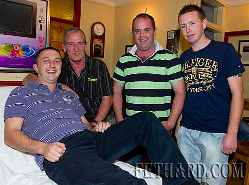 Lining up to get waxed and shaved at the fundraiser for the Paul Barrett Fund in Butler's Sports Bar are L to R: M.J. Croke, Joe O'Meara, Peter Doherty and Paul Kenrick.