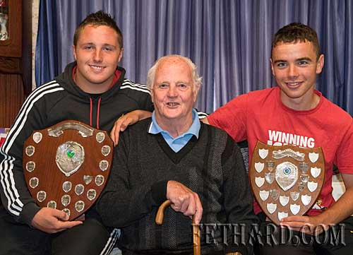 Paddy Lawrence photographed with his grandson Garreth Lawrence (left) and his great-greandson Dion Butler who were both members of the succesful under-16 Fethard football team who won the County B Final against Rockwell Rovers in Cashel