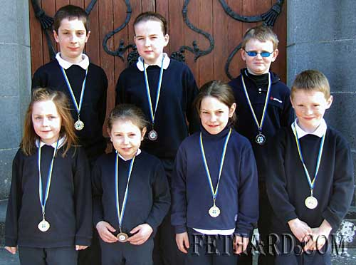 Children from Killusty NS who won medals at Community Games Area Art Final. Back L to R: Tommy Sheehan, Orla Walsh, Francis Holohan. Front L to R: Phoebe Duggan, Annabel Lillis, Sophie Lillis and Ben Coen.