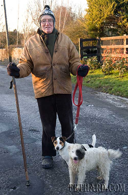 Hunting correspondent, Tony Newport, well wrapped up for the weather before taking his dogs out.